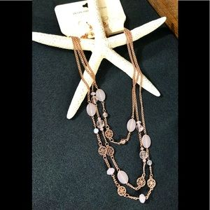 Rose gold plated 3 tiered necklace w/pink accents